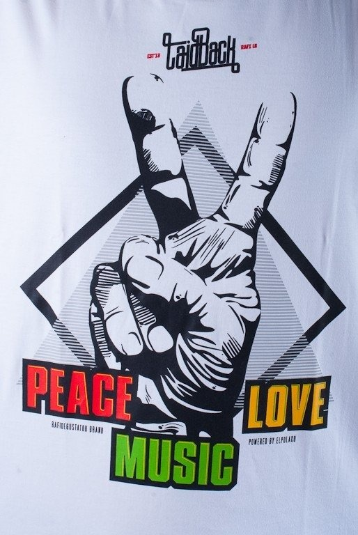 EL POLAKO LONGLEEVE PEACE LOVE MUSIC WHITE-BLACK