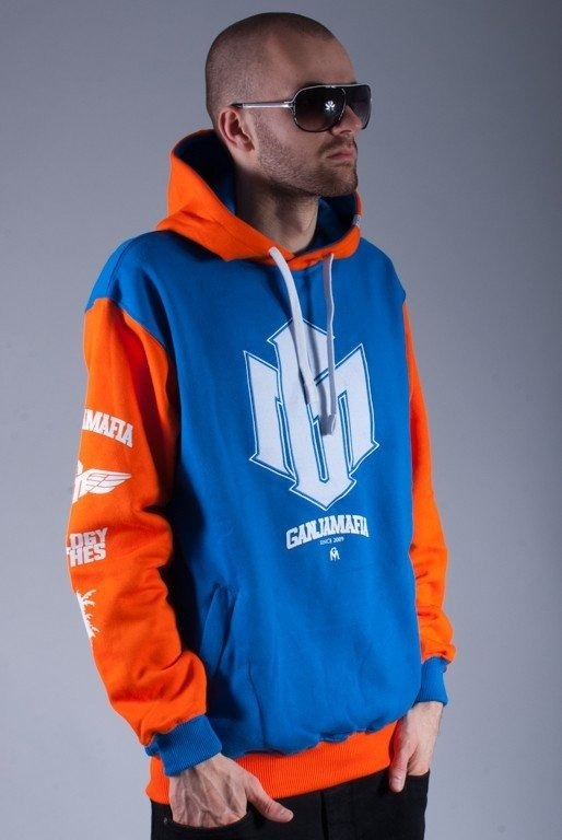 GANJA MAFIA BLUZA Z KAPYUREM NEW GM ORANGE-BLUE