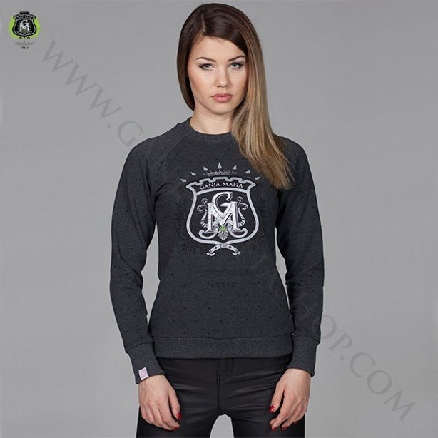 GANJA MAFIA CREWNECK WOMAN HERB DOTS GREY