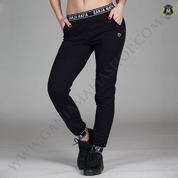 GANJA MAFIA WOMAN SWEATPANTS FLEXI KEEP DREAMING BLACK