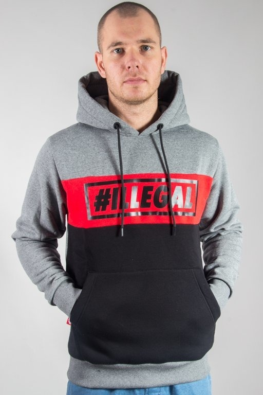 ILLEGAL HOODIE ILLEGAL RED GREY