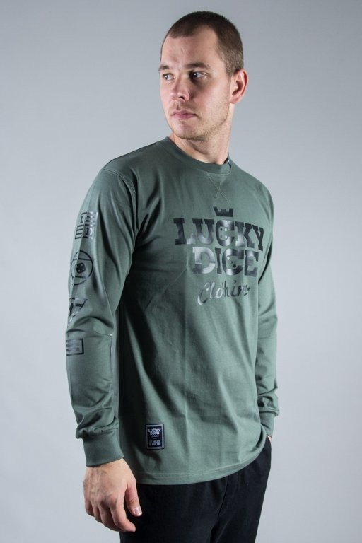 LUCKY DICE LONGSLEEVE EMBLEMS OLIVE-BLACK