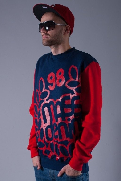MASS BLUZA BEZ KAPTURA OVERSIZE NAVY-RED