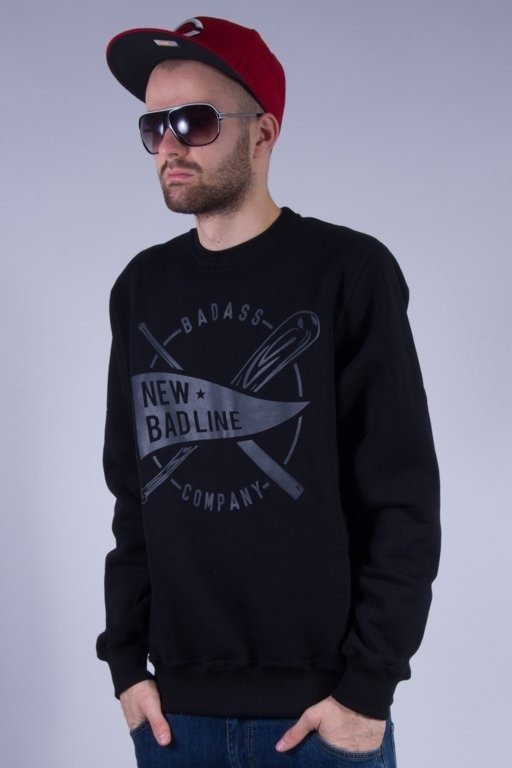 NEW BAD LINE BLUZA BEZ KAPTURA BASEBALL BLACK-BLACK