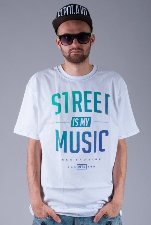 NEW BAD LINE KOSZULKA STREET IS MY MUSIC WHITE