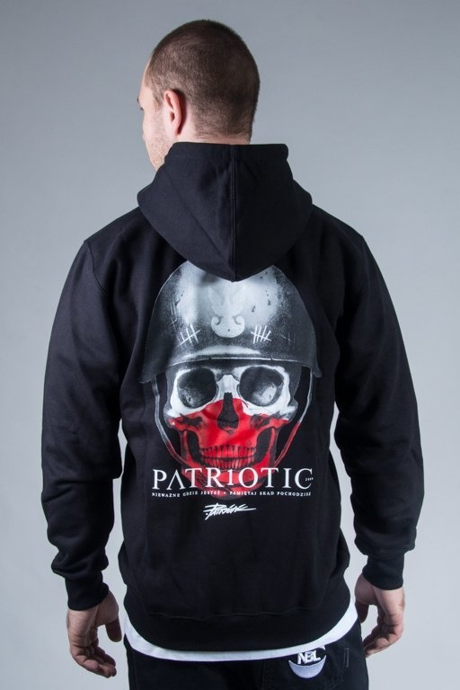 PATRIOTIC HOODIE ZIP SKULL NEW BLACK-RED