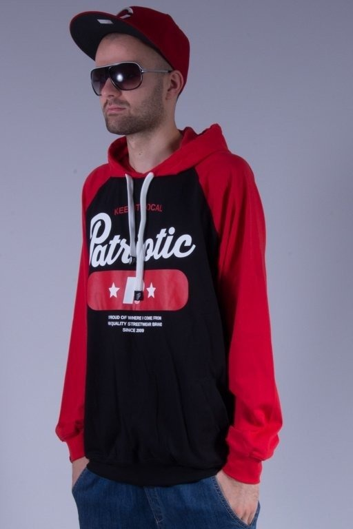 PATRIOTIC LONGSLEEVE Z KAPTUREM BASE BLACK-RED