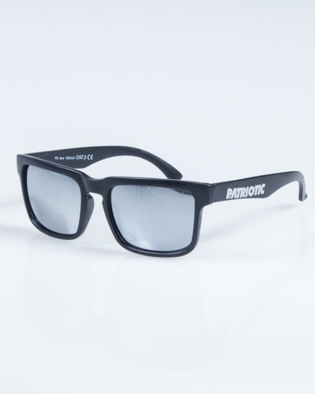PATRIOTIC OKULARY SQUARE BLACK-GREY MIRROR 03
