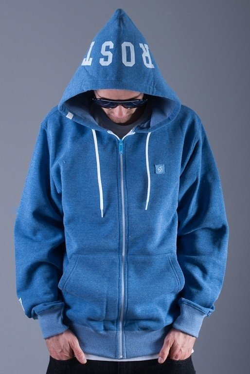 PROSTO BLUZA Z KAPTUREM ZIP COWL LIGHT BLUE