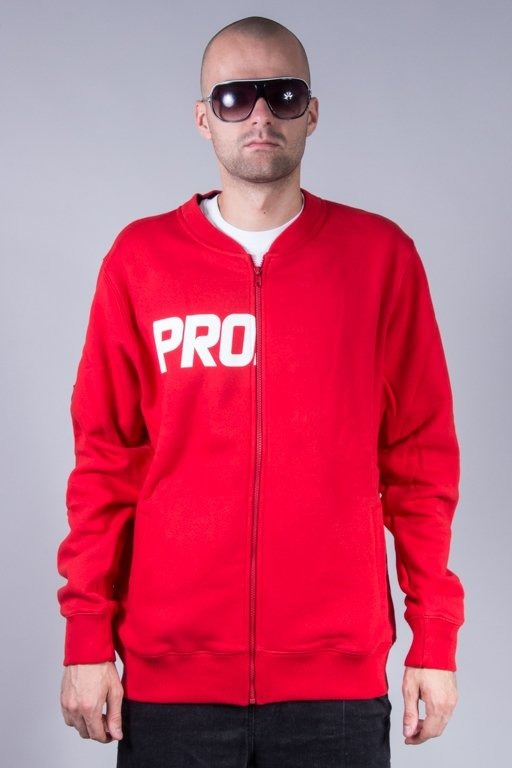 PROSTO CREWNECK ZIP TRANSFER RED
