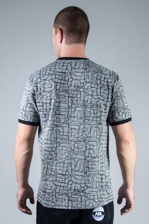PROSTO T-SHIRT LINES GREY-BLACK