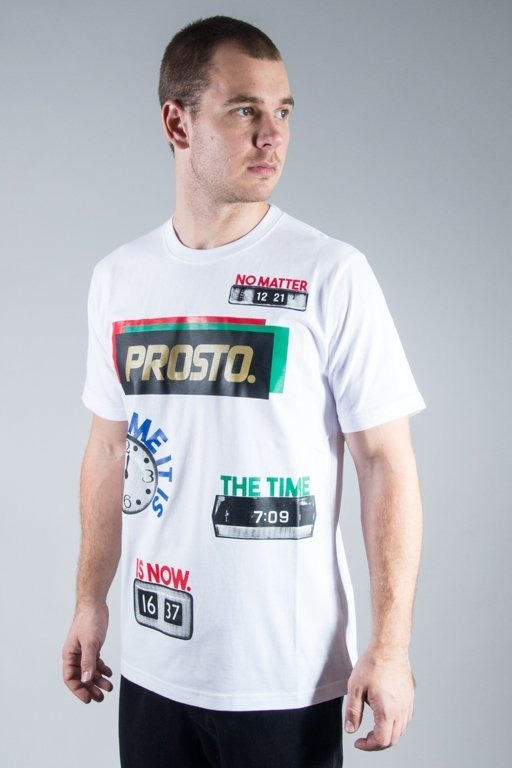 PROSTO T-SHIRT THE TIME IS NOW WHITE
