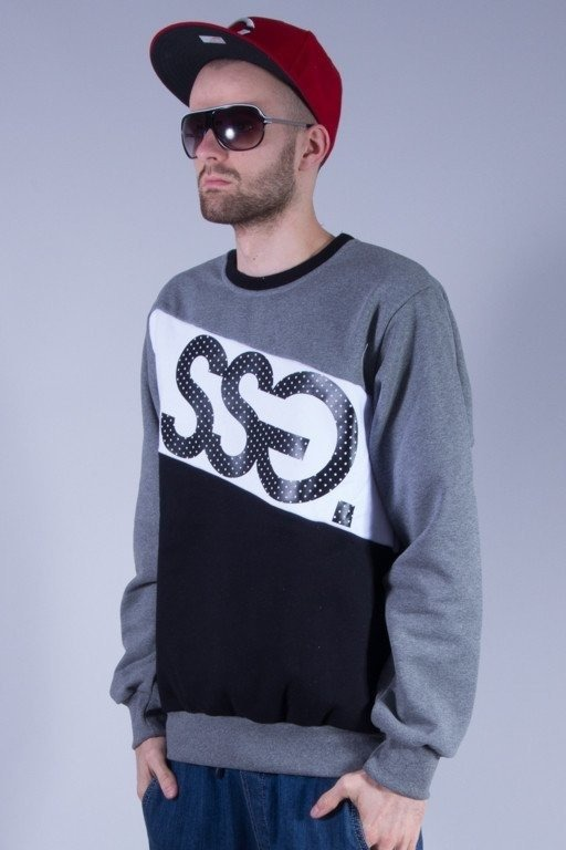 SSG BLUZA BEZ KAPTURA TRIPLE BIG MELANGE-BLACK