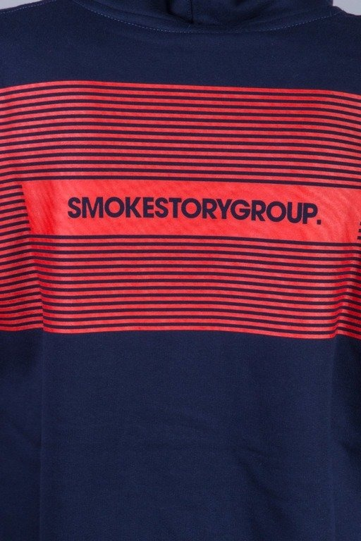 SSG BLUZA Z KAPTUREM  STRIPES NAVY-RED