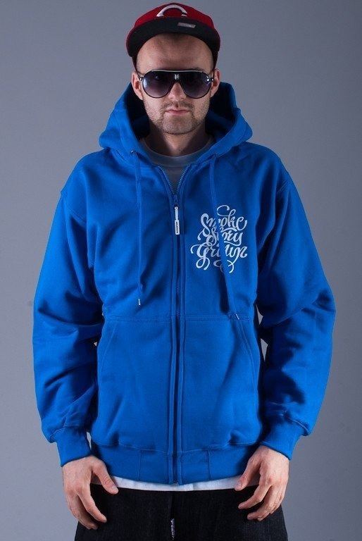 SSG BLUZA Z KAPTUREM ZIP CALIGRAPHY BLUE