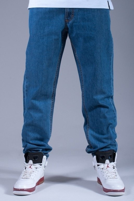 SSG SPODNIE JEANS SLIM S BLUE-RED