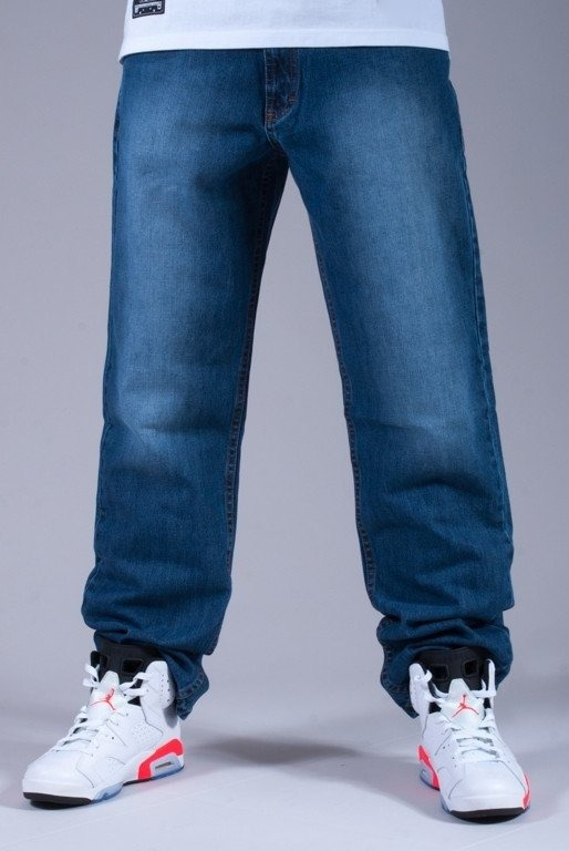SSG SPODNIE JEANS WYCIERANE NEW LOGO MEDIUM BLUE