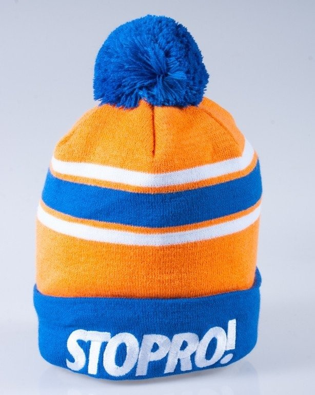 STOPROCENT CZAPKA ZIMOWA POMPON STOPRO! ORANGE-WHITE-BLUE