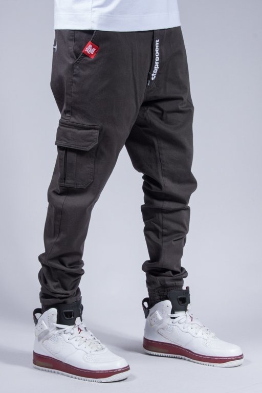 STOPROCENT PANTS CHINO JOGGER ARMY GREY