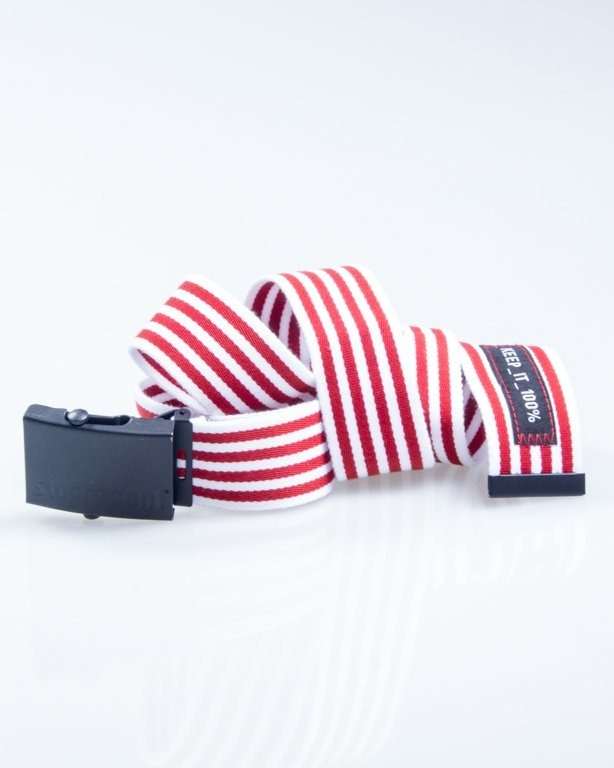 STOPROCENT PASEK PARCIANY STRIPES WHITE-RED