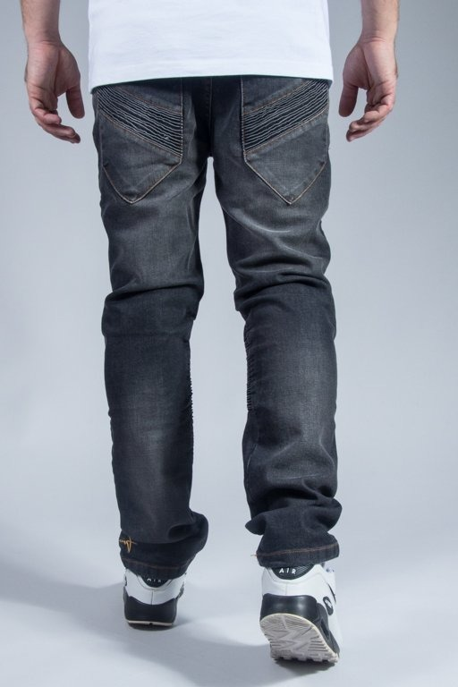 STOPROCENT SPODNIE JEANS BIKERS BLACK
